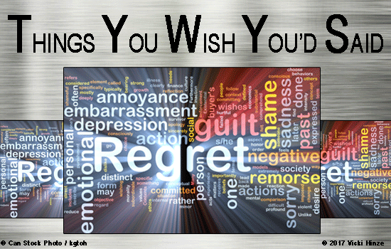 Vicki Hinze, regrets, mistakes, I wish I had said