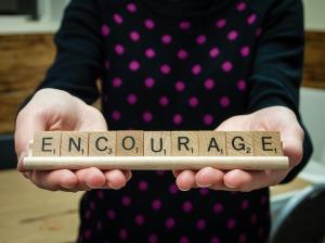 Encourage Scrabble Tiles Message Word Letters