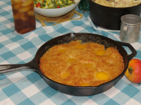 Peach Cobbler in Cast Iron Skillet