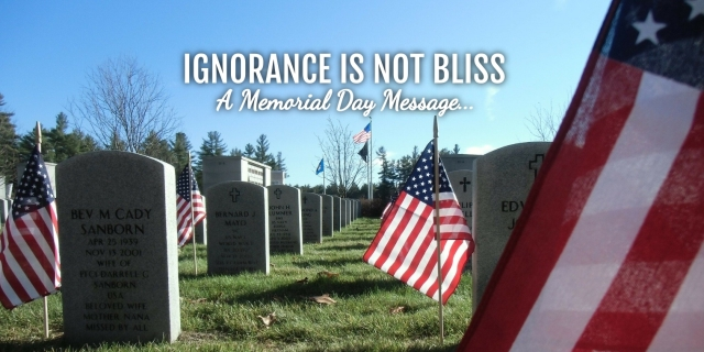 Ignorance is not Bliss, a Memorial Day Message, Christians Read, Vicki Hinze